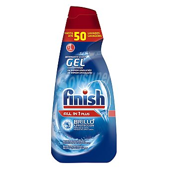 Finish Detergente lavavajillas todo en 1 Plus en gel concentrado botella 50 dosis brillo y protección del cristal Botella 50 dosis