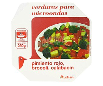 Auchan Bol Verduras al Vapor : Pimiento Rojo, Bróculi y Calabacín 250g
