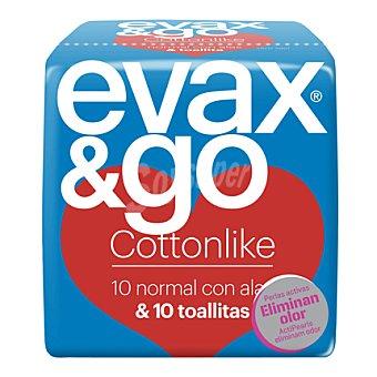 Evax Compresa Cottonlike normal con alas + toallitas 10 ud