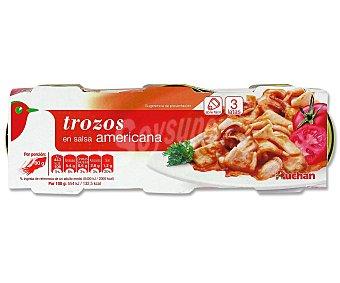Auchan Trozos de pota en salsa americana Pack 3 Unidades de 51 Gramos