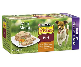 Friskies Purina Purina friskies Mini Menu Perro Adulto Paté con Pollo y Pato Pack 4x150g Pack 4x150g