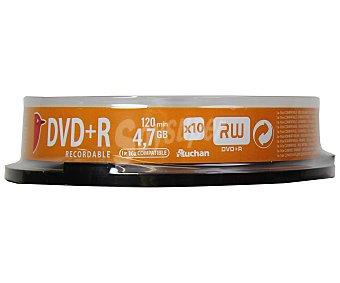 Auchan Tarrina 10 DVD+R 10 unidades