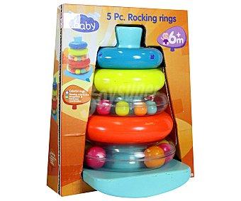 Baby Auchan Pirámide de Aros Apilables de Colores y con Sonido 1 Unidad