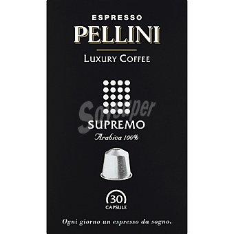 PELLINI ESPRESSO Luxury Coffee Supremo café espresso arábica 100% caja 30 cápsulas caja 30 c