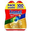 Gel para lavavajillas Oro anti grasa Pack de 2 unidades de 50 lavados Somat
