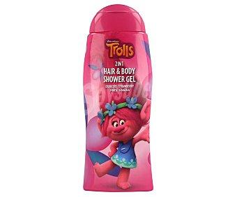 Trolls Gel y champú de baño o ducha con aroma a fresas 250 ml