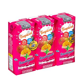 Hacendado Frutas+leche tropical (brick rosa) 3 x 330 ml