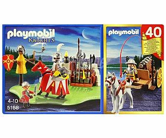 PLAYMOBIL Playset de Construcción Knights, Set Aniversario Compact Torneo+Carreta Medieval, Modelo 5168 1 Unidad