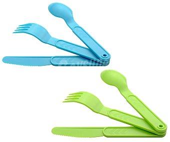 eda Juego de 3 cubiertos (cuchara, tenedor y cuchillo) fabricadas en plástico de color verde o azul 3 unidades