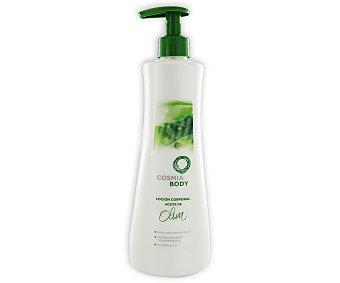 COSMIA Loción corporal aceite de oliva para todo tipo de pieles, con manteca de karité, rosa mosqueta y vitaminas (E&B) 500 mililitros