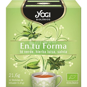 YOGI Biologico Té verde hierbaluisa y salvia ecológico para mantener la forma  Estuche 21 g (12 uds)