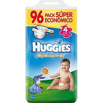 HUGGIES SUPERSECO Pañales de 9 a 15 kg talla 4 super elástico pack ahorro Bolsa 96 unidades