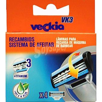 Veckia Recambio de maquinilla de afeitar con 3 hojas y cabezal basculante Estuche 4 unidades