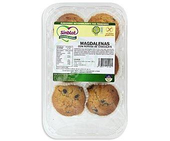SINBLAT Magdalenas con pepitas de chocolate Sin Gluten 6 Unidades 260 Gramos