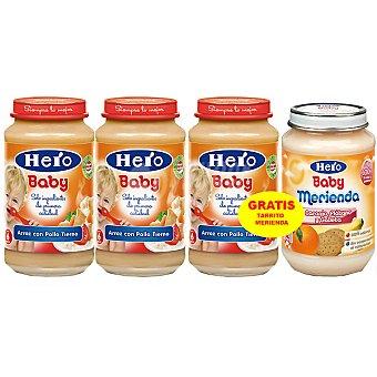 HERO BABY tarritos con pollo y arroz estuche 950 g + HERO BABY MERIENDA tarrito de frutas 200g pack 3x250g