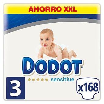 Dodot Sensitive pañales de 6 a 10 kg talla 3 caja 168 unidades