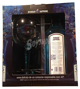 Bombay Sapphire Estuche bebida ginebra con regalo copa de cristal 1 botella x 700 cc + copa cristal
