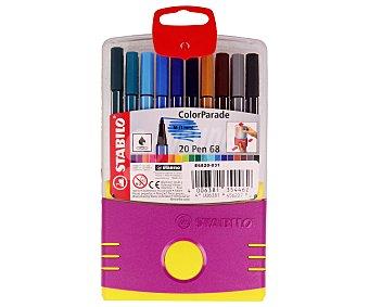 Stabilo Caja de 20 rotuladores con punta media, grosor de trazado de 1 milímetro y de diferentes colores 1 unidad