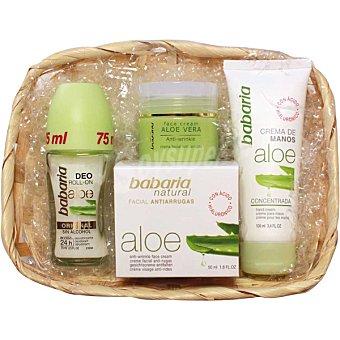 Babaria Cesta Aloe Vera con crema facial antiarrugas + crema de manos concentrada + ddesodorante roll on original sin alcohol