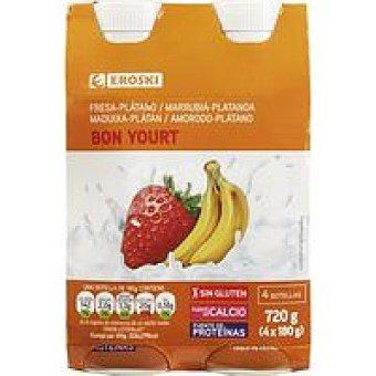 Eroski Bonyourt yogur líquido de fresa-plátano Pack 4 x 180 g