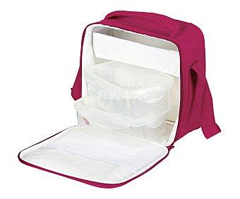 QUID Bolsa porta alimentos color granate más 2 recipientes herméticos de plástico 1 Unidad