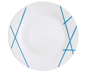 Quid Plato llano redondo de porcelana blanca con líneas azules, 27 centímetros, Domus quid