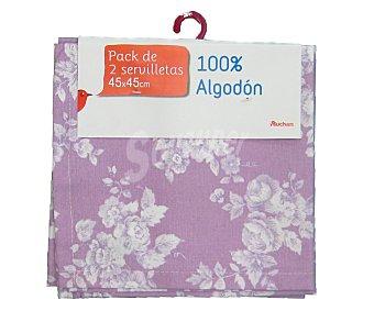 Auchan Pack de 2 servilletas de algodón, estampado floral color violeta, 45x45 centímetros 1 Unidad