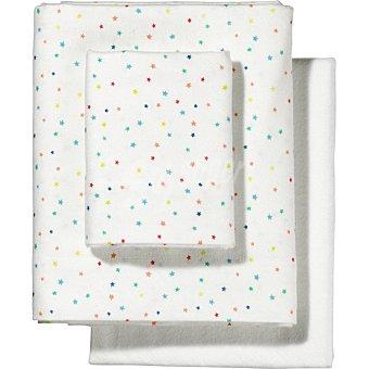 DOMBI Juego de sábanas de franela con estrellitas multicolores para minicuna