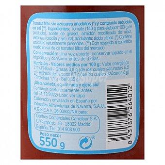 Carrefour Tomate frito sin azúcares añadidos contenido reducido en sal Tarro 550 g