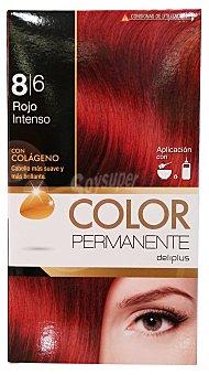 COLOR PERMANENTE Tinte coloración permanente Nº 8,6 rojo intenso (contiene colágeno para hidratar) 1 unidad