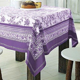 CASACTUAL Cartuja mantel estampado en tonos lilas 150 x 150 cm