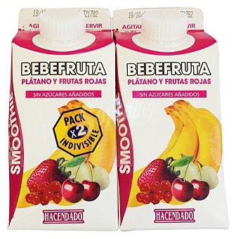 Hacendado Zumo fruta triturada frutas rojas platano refrigerado bebe fruta 2 x 330 cc