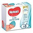 Toallitas infantiles Pure Extra Pure Pack 3 envases x 56 u Huggies