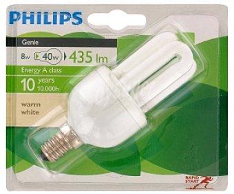 Philips Bombilla Genie tubo ahorradora 8W, blanca cálido, E14 1 Unidad
