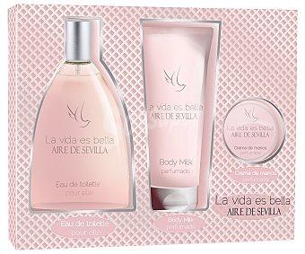 Aire de Sevilla Estuche regalo para mujer con colonia de 150 mililitros, loción corporal de 150 mililitros y crema de manos La vida es bella 1 unidad
