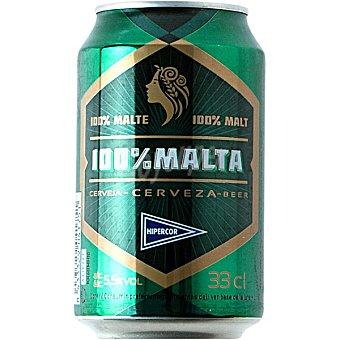 Hipercor Cerveza rubia 100% Malta lata 33 cl Lata 33 cl