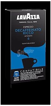 Lavazza Café espresso descafeinado Ricco intensidad compatibles con máquinas Nespresso Estuche 10 cápsulas