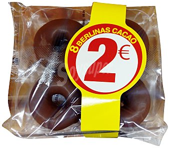 HACENDADO Berlinas bañadas cacao horno Paquete 8 u (480 g)