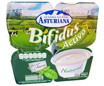 Central Lechera Asturiana Yogur bífidus natural Pack 4 Unidades de 125 Gramos