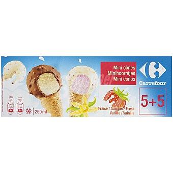 Carrefour Helado mini cono fresa/vainilla 10 ud