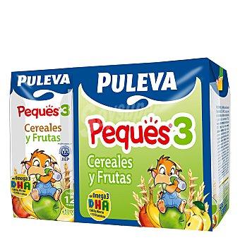 Puleva Leche 3 de crecimiento con cereales con fruta líquida Peques 3 Pack 3x200 ml