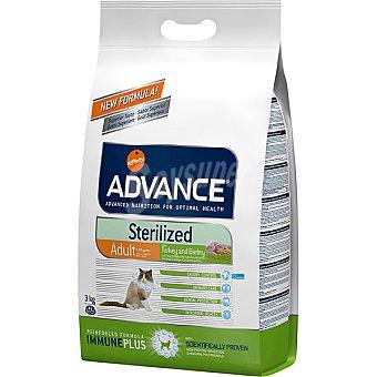 Advance Affinity Sterilized adult pienso de alta gama para gatos adultos 1-10 años esterilizados bolsa 3 kg con pavo y cebada para prevenir la obesidad Bolsa 3 kg