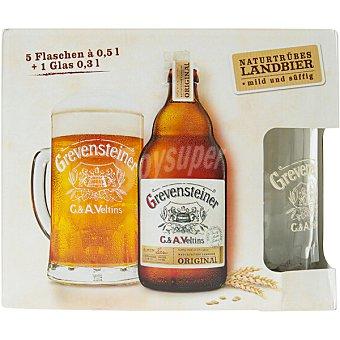 GREVENSTEINER Cerveza rubia alemana Pack 5 botellas 50 cl