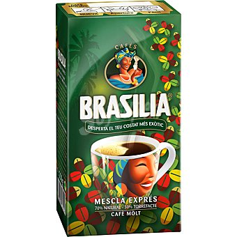 Brasilia Café Molido Mezcla 70% Natural - 30% Torrefacto Paquete 250 g