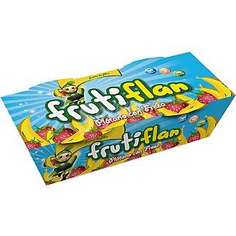 Frutiflan Flan de plátano con fresa sin grasa 88% de flan de frutas y 12% de sirope de frutas pack Envase 100 g