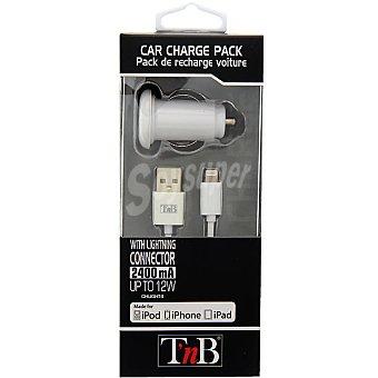 Tnb Cargacor de coche con USB y cable de carga rápida para iphone