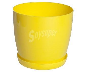 VAN Macetero plástico modelo Begoña, liso y de color amarillo limón 1 Unidad