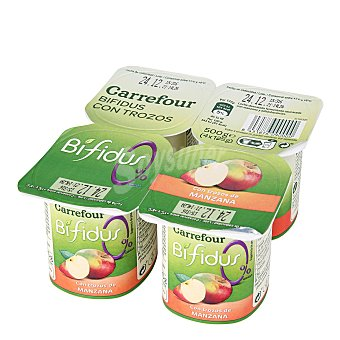 Carrefour Yogur bífidus desnatado con trozos de manzana sin azúcar añadido Pack de 4 unidades de 125 g