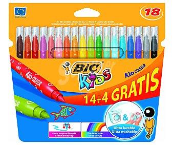 Bic Caja de 18 rotuladores con punta media, ultralavables y de diferentes colores brillantes 1 unidad