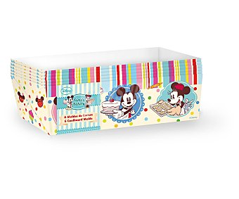 Disney Moldes rectangulares desechables de cartón con diseño de Minnie y Mickey Mouse, tamaño mediano, modelo Family Bakery 6 unidades